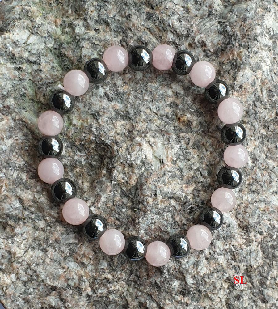 Bracelet en Quartz rose Hématie perle 8mm anti stress douceur Litho Reiki