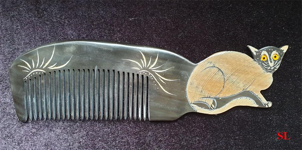 Peigne en corne Forme CHAT Artisanale Original