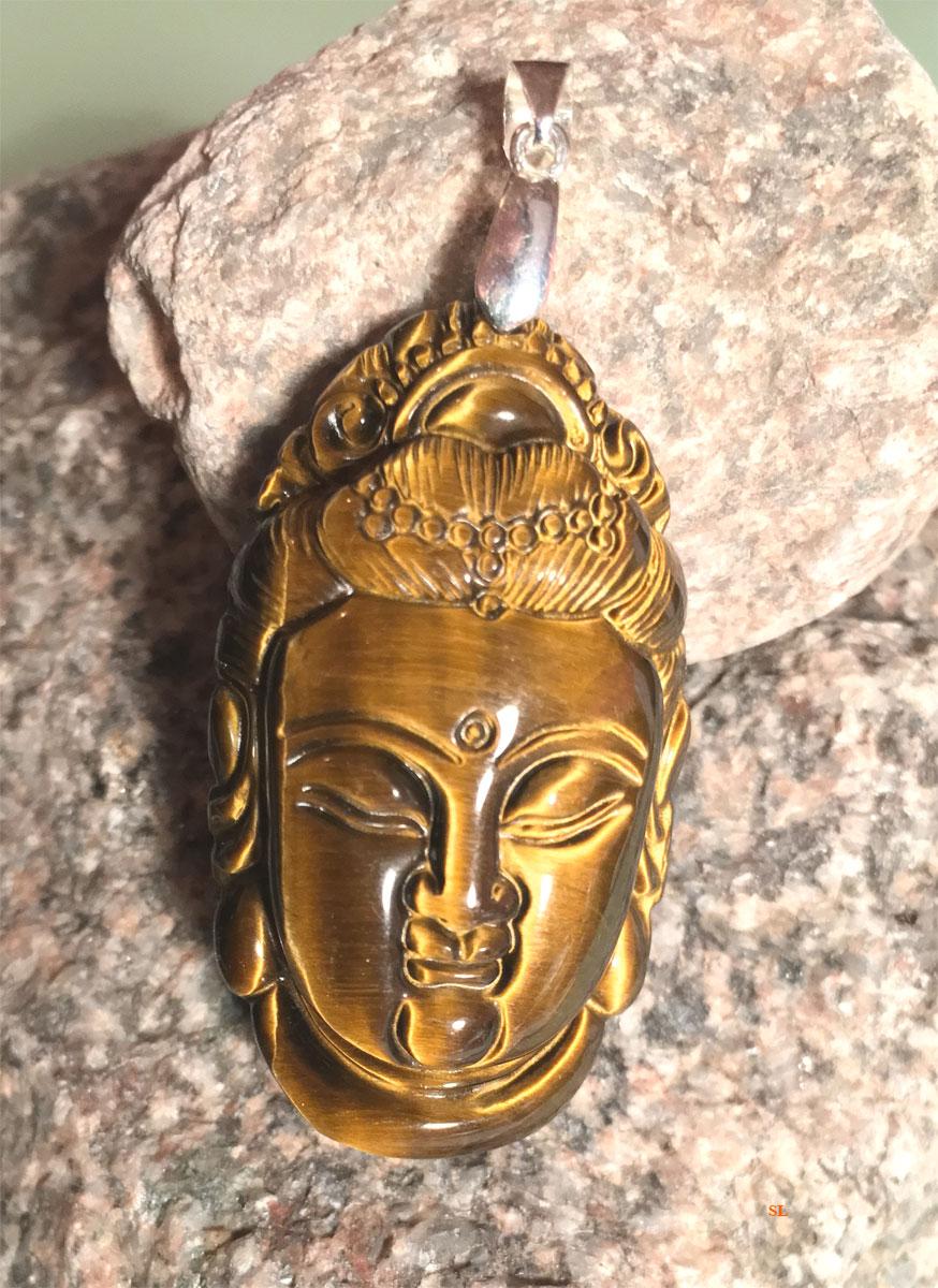 Pendentif-tete-Boudha-Guan---Yin-pierre-oeil-de-tigre--Protection-