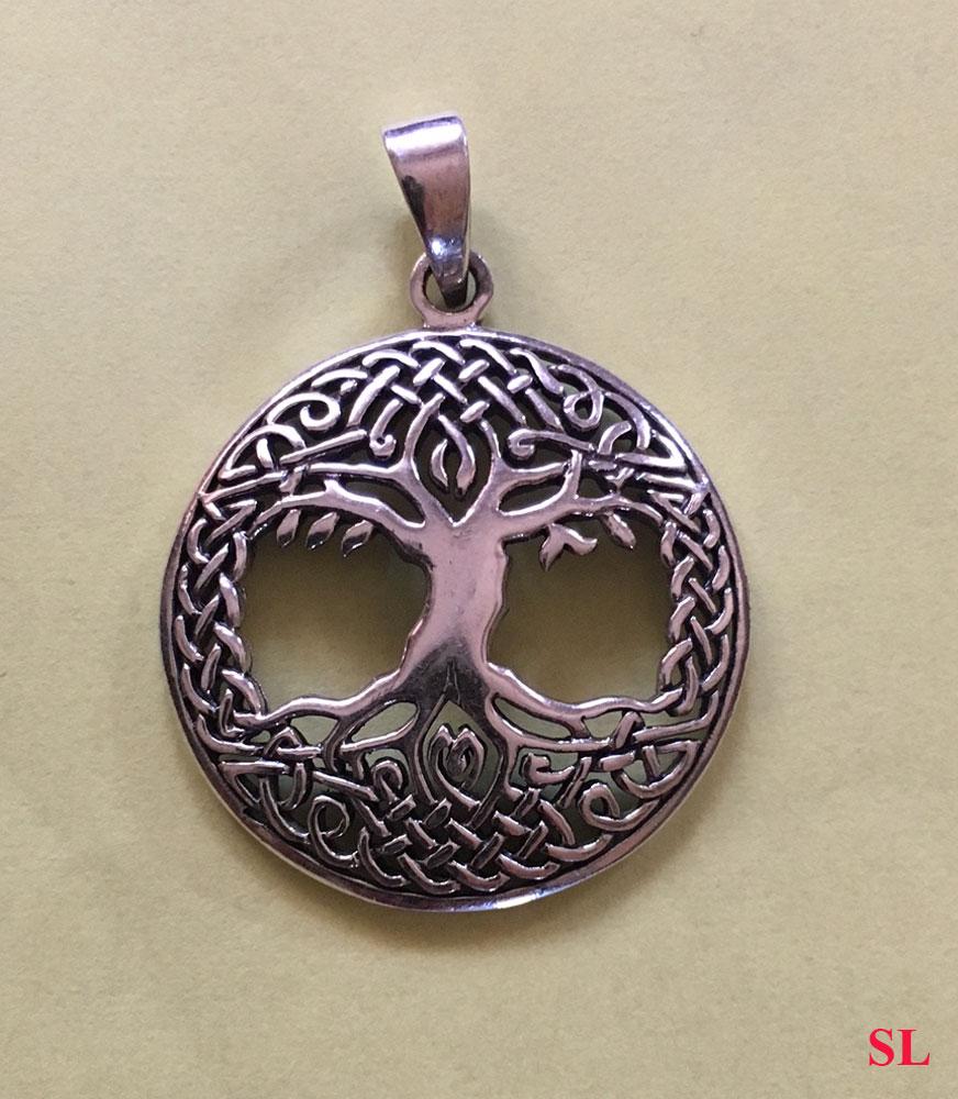 Joli--Pendentif--Arbre-de-Vie-celtique-2--en-argent-massif-925-poinçon