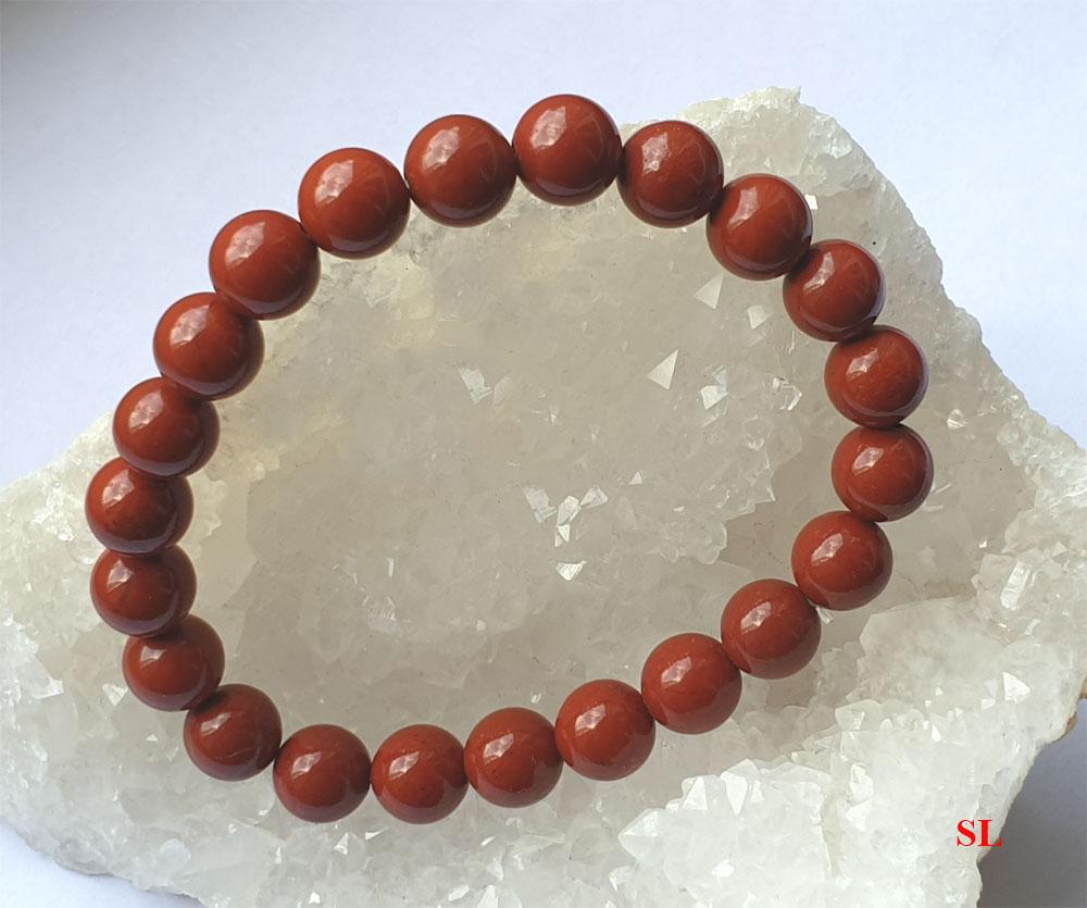 Joli bracelet en jaspe Rouge, perle de 8 mm  LITHO-REIKI