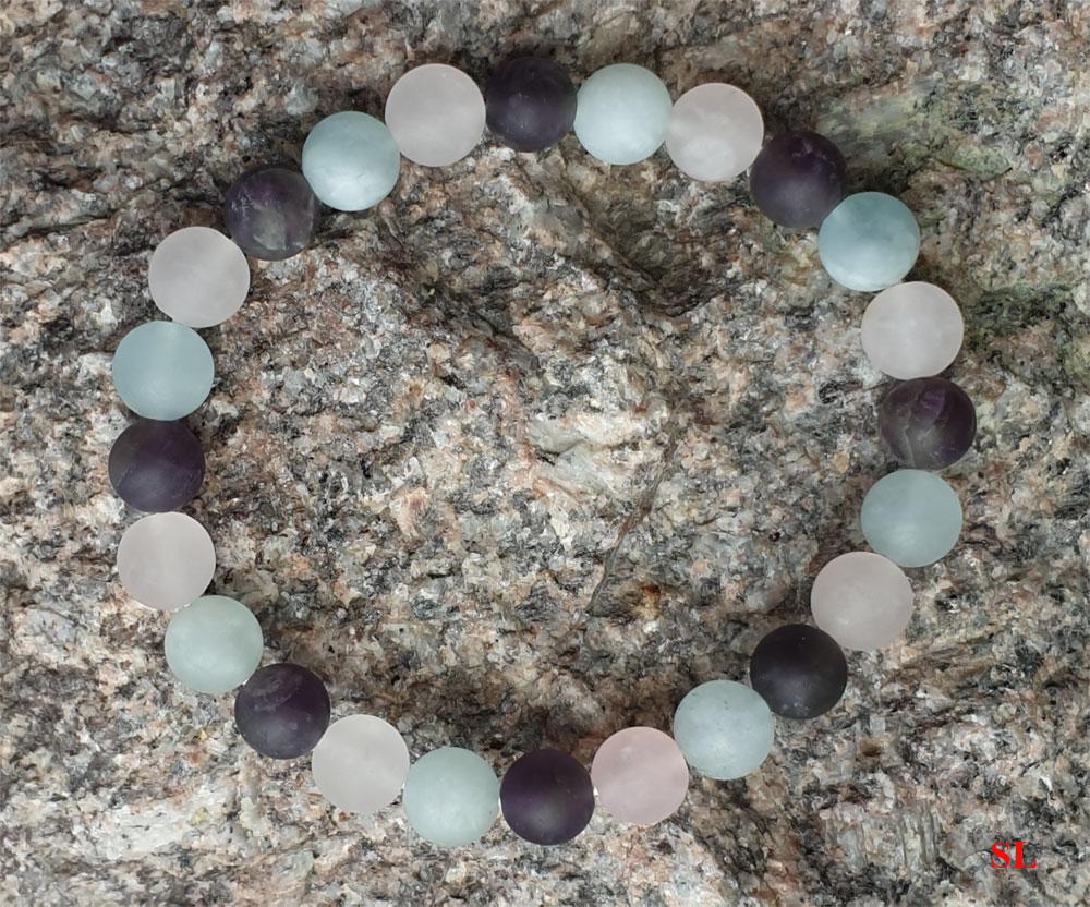 Bracelet 3 pierre Aigue Marine Améthyste Quartz rose anti stress douceur calmant Litho - Reiki