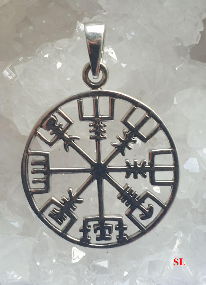 Pendentif-Boussole-Compas-Viking-Islandais-Nordique-en-argent-sterling-925-