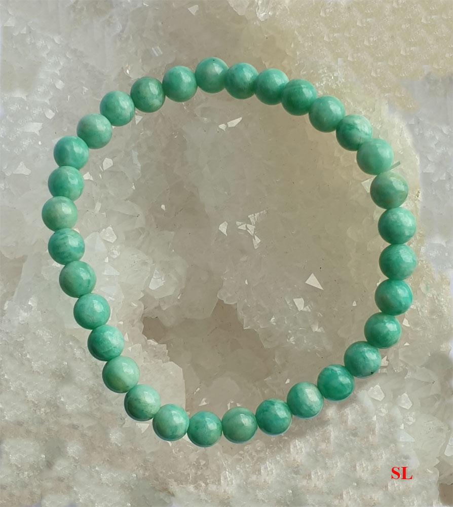 Bracelet en pierre amazonite, perle 6mm Extra, LITHO-REIKI gemstone