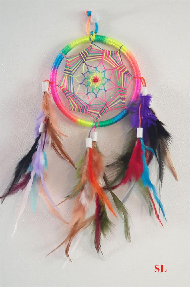 Tres-jolie-Attrape-Reve-multicolore-arc-en-ciel-Dream-Catcher--9-cm-fait-main