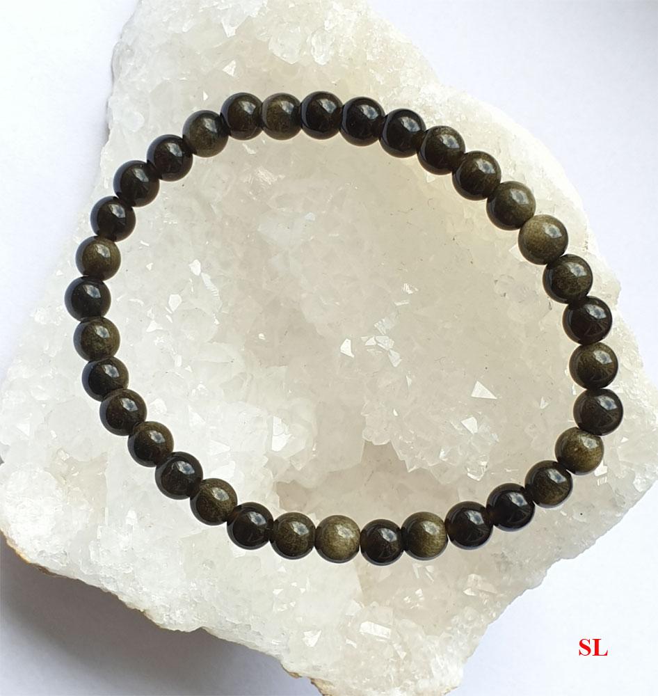 Bracelet en pierre obsidienne dorée, perle de 6 mm  LITHO-REIKI gemstone