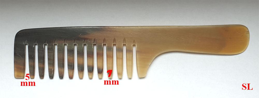 Grande Peigne en corne avec manche dent espacé Artisanale Original
