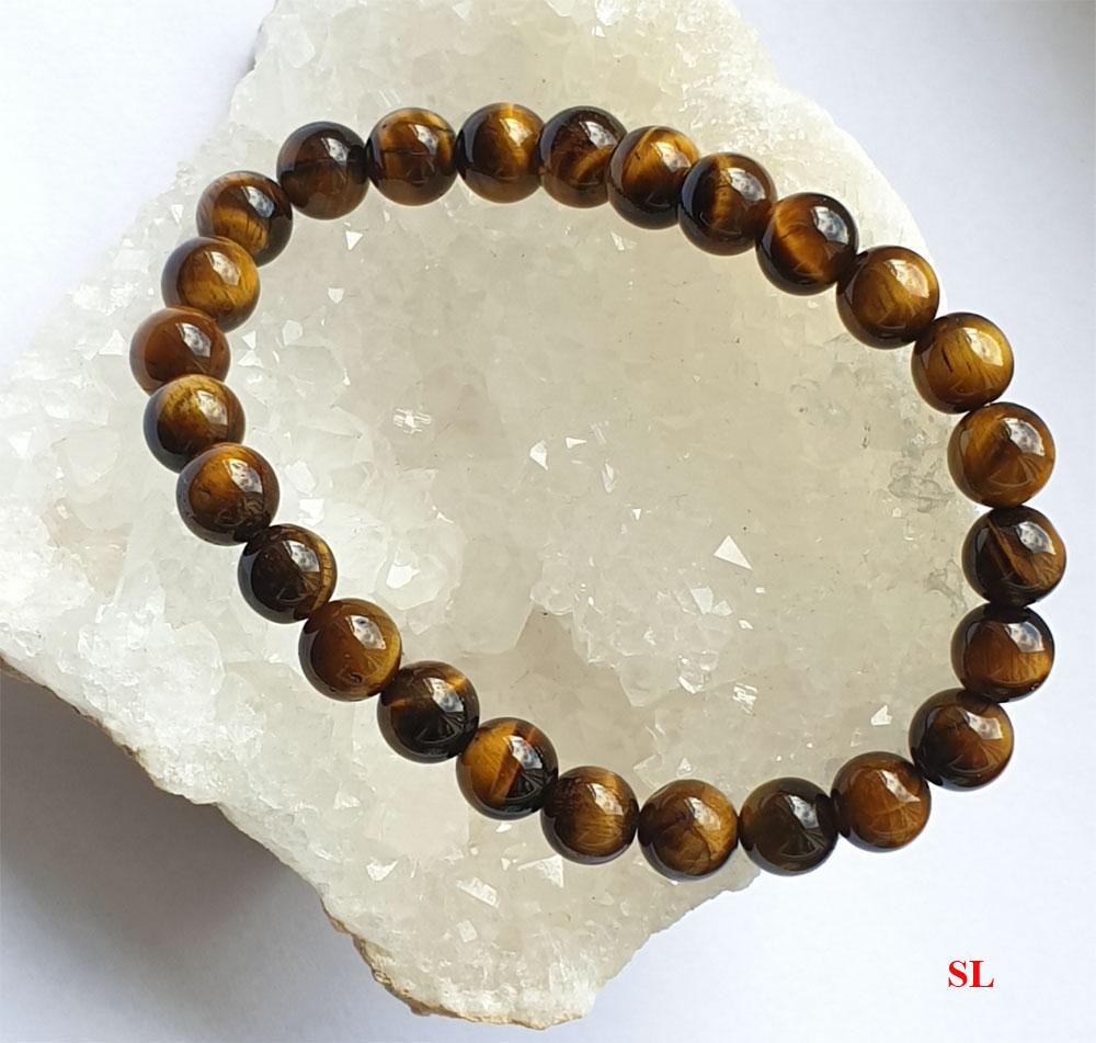 Bracelet en pierre oeil de tigre,  perles 8mm LITHO-REIKI protection 21 cm